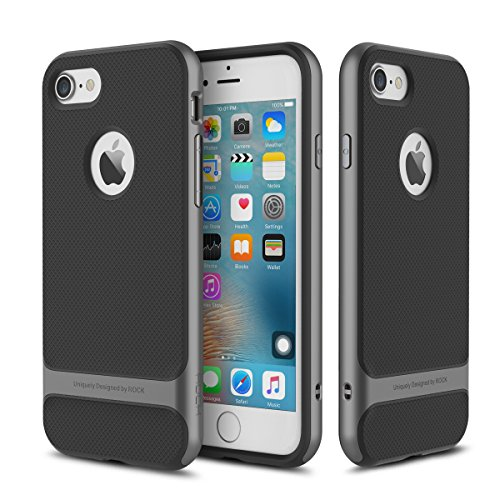 AISPORTS iPhone 8 Hülle, iPhone 8 Handyhülle Case Rock Dual Layer Armor Hybrid Robust Weich TPU Shell Hart PC Rahmen Schutzhülle Bumper Beschützer Case Cover für iPhone 8 - Titangrau