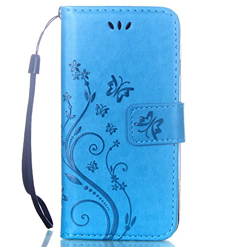 iPhone 7 Coque Glitter,iPhone 7 Coque Souple,iPhone 7 Coque Cuir,iPhone 7 Coque Fleur Etui,iPhone 7 Leather Case Wallet Flip Protective Cover Protector,iPhone 7 Coque Portefeuille PU Cuir Etui,EMAXELE G Butterfly 6