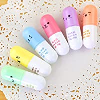 JYSPORT Highlighter, Colour Pastel Pens, Great Kids Permanent Markers For Colouring and Office Supplies (Pills Highlighter 6pcs)