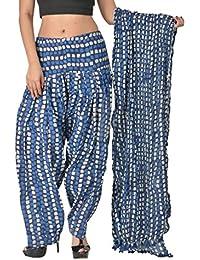 SHUBHI Women's Cotton Patiala Bottom & Chunni (Indigo, 42-50 Adjustable Fit)
