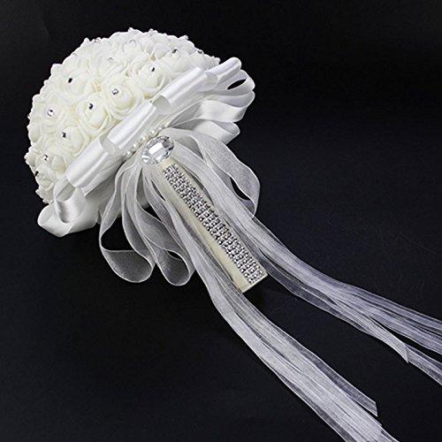Auntwhale Hochzeit Brautstrauß Handmade Crystal Ribbon Strass Hochzeit Brautjungfer Bouquet Bridal Künstliche Blumen für Hochzeit