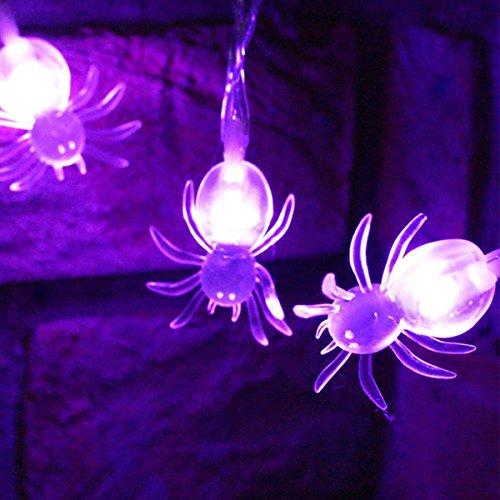 Halloween Kosten (ausgezeichnete Global 2 Modi String-Licht mit 20 Lila Spinnen-LEDs)