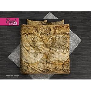 Cool Bedding de cama antigua mapa juego de cama, Mapa del mundo funda de edredón # 122
