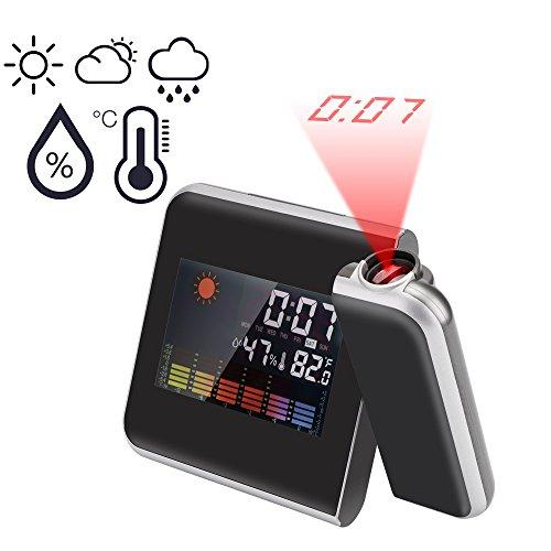 Reloj de proyección digital, Lemonbest Pantalla LED Alarma de proyección Reloj Reloj de estación meteorológica con fecha, Termómetro, Humedad, Snooze, Temperatura 12/24 Hora