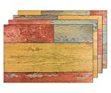 4er Premium Tischsets Holzoptik Shabby Rot-Orange-Blau | je ca. 43,5x28,5cm | je ca. 2,6mm | je ca. 175g | PVC-CV | rechteckig | abwaschbar | Gastro-Qualität | bazaaro