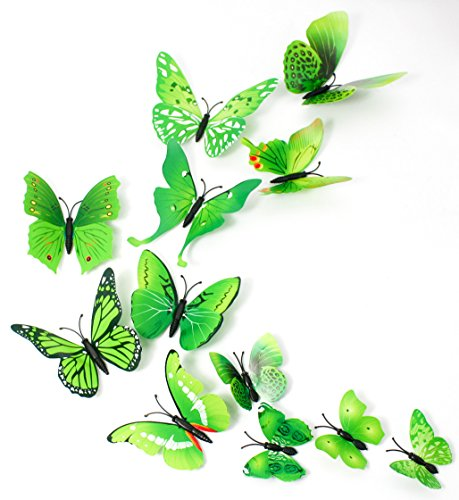 MissBirdler 24 Schmetterlinge Grün 3D Effekt Kühlschrank Schmetterling Magnet mit Klebepunkten Wandtattoo Wand Aufkleber Dekoration Wanddekoration Wohnzimmer Küche Kinderzimmer Deko Wall Sticker
