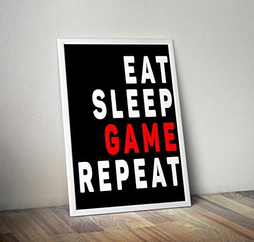 Cartel del juego Eat Sleep - Geek Póster / impresión - Gamer...