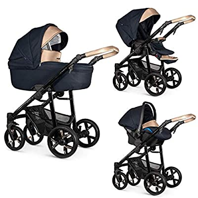 Venicci Lanco 3-in-1 Travel System - Prestige Gold Edition Navy Blue - Carrycot + Car Seat + Changing Bag + Footmuff + Raincover + Mosquito Net + 5-Point Harness and UV 50+ Fabric + Car Seat Adapters
