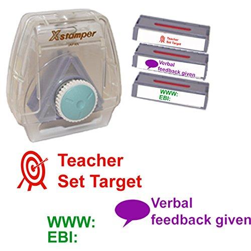 3Nachricht Lehrer Markieren Stempel–Artline Xstamper-in Komplett mit Halter und Teacher Set Target, WWW EBI, verbal Feedback Given Markieren und Feedback Briefmarken