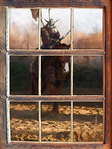 Samurai Krieger auf einem Pferd Fenster im 3D-Look , Wand- oder Türaufkleber Format: 92x62cm, Wandsticker, Wandtattoo, (Krieger Kostüm Japanische)
