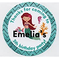 "AERIAL THE LITTLE MERMAID/Turquoise""Thank you for coming to."" Stickers - PERSONALISED A4 Sheet of 15 x 50mm Round Party Bag Stickers"