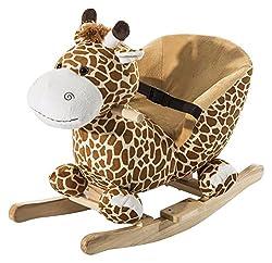 HOMCOM Schaukeltier Schaukelpferd Kinder Schaukel Giraffe Spielzeug mit Musik (Schaukelgiraffe)