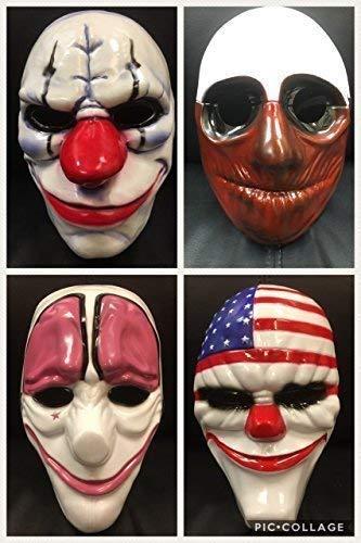 komplette Satz von vier - Zahltag Plastik Kostüm geschnürt Masken - Brand Neu - mit elastischer ()
