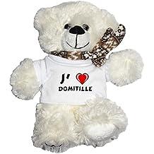 Ourson blanc personnalisé en peluche avec J'aime Domitille T-Shirt (Noms/Prénoms)