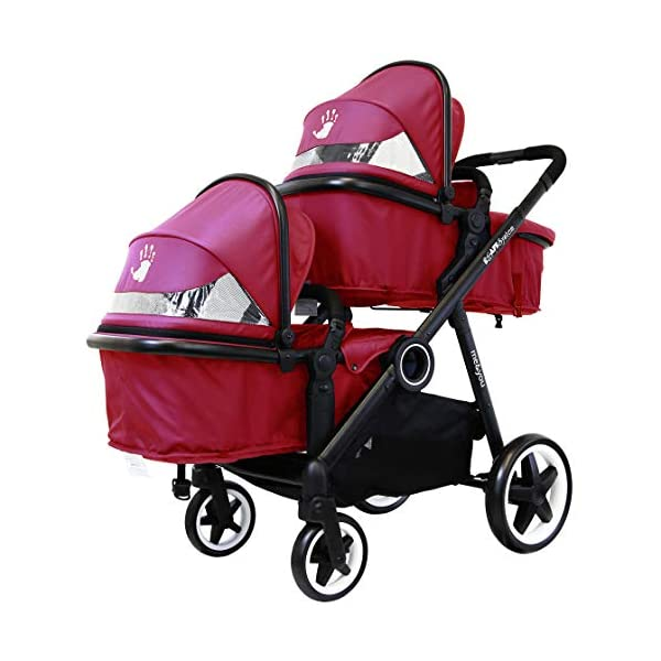 iSafe Tandem Pram me&You - 2 Tone Red (Sienna) iSafe Sleek & Eye Catching Matte Black Chassis, Weighing Only 16Kgs Easy One Second Fold, For Those Parents On The Go Soft Grip Extendable 3 Height Handle, To Suit Parents Of Any Height 2