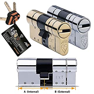 Avocet ABS High Security Euro Door Cylinder 30 (INT) X 30 (EXT) Polished Brass - Anti Snap Lock - Sold Secure Diamond Standard - 3 Star