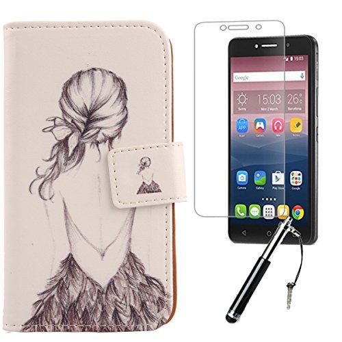Lankashi Back Girl 3in1 PU Flip Leder Tasche Für Alcatel One Touch Pixi 4 6
