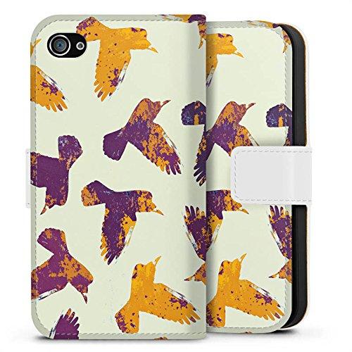 Apple iPhone X Silikon Hülle Case Schutzhülle Vögel Raben Wasserfarbe Sideflip Tasche weiß