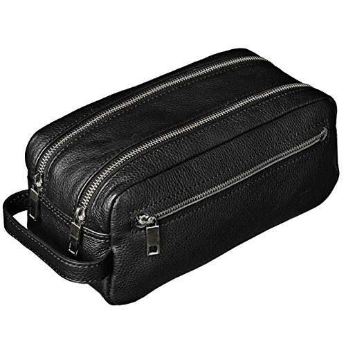 STILORD Kulturtasche Kulturbeutel groß mit Henkel Reise Waschtasche mit Fächern Vintage echtes Leder, Farbe:schwarz