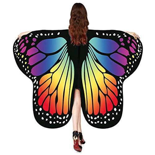 Butterfly Womens Kostüm - Auiyut Frauen Schmetterling Kostüm Butterfly Wings mit Schwarzem Kragen Schal Ladies Karneval Flügel Umhang Poncho Kostüm Zubehör für Show Daily Party Halloween (Mehrfarbig, FREIEGRÖSSE)