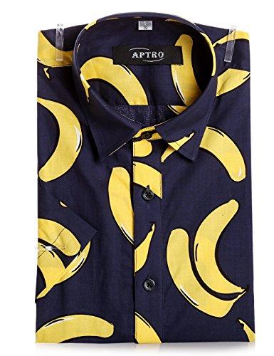 APTRO Hemd Herren Kurzarm Freizeit Hemd Baumwolle Mehrfarbig Blumen Shirt Sommer APT019