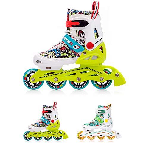 meteor® Inliner Rollen Inline-Skates Damen Inliner Kinder Original Inline Skates - ABEC7 Inliner mit Einstellbarer Größe Inline-Skates Kinder (EU 38-42 (L), Monster)