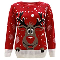 Idea Regalo - Janisramone capretti Ragazze boys Nuovo renna stampare Lungo Manica Natale Jumper bambini Retro Novelty Inverno maglione