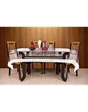 Kuber Industries PVC 6 Seater Transparent Dining Table Cover - White