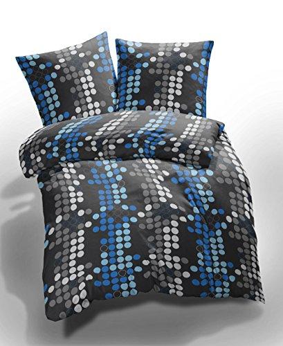 Etérea 2 tlg. Mikrofaser Bettwäsche Kreise Muster - Ganzjahres & 4-Jahreszeiten Bettwäsche-Set - 135x200 cm + 80x80 cm - Blau Grau (Muster Bettwäsche Set)