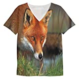 Snoogg Watching Fox Mens Casual V Neck A...