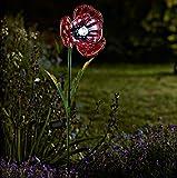 Garden Mile groß solar betrieben Glas Blumen mit LED Lichter handbemalt Gartenblumen Solar Garten Beleuchtung - Mohn