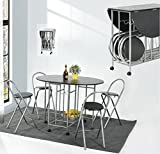 Foldable Dining Table and 4 Chairs Set ,EGGREE 5Pcs Butterfly Kitchen Folding Dining Table and Chairs with Movable Casters,Black