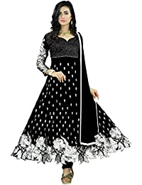 Purva Art Womens Salwar Suit Georgette Cut Work Embroidery Work Dress (PA_9549_Black_Womens Dress_With Dupatta...