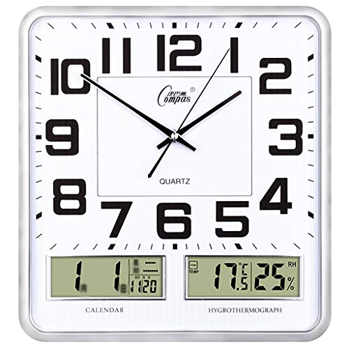 Orologio da parete salotto silenzioso temperatura umidità display lcd quadrato orologio orologio al quarzo 16 pollici (color : silver)