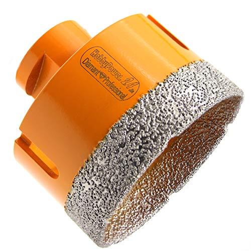HOBBYPOWER24® Premium Diamantbohrkrone Fliesenbohrer Diamantbohrer Diamant Bohrkrone Ø 65 mm Fliese Feinsteinzeug Marmor Naturstein Granit M14 passend für Winkelschleifer Flex