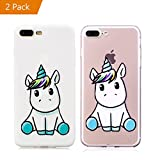 KM-Panda Coque Apple iPhone 7 Plus 8 Plus Licorne Blanc + Transparence Silicone TPU Transparent Motif Ultra Fine Slim Bumper Antichoc Etui Housse Case Cover