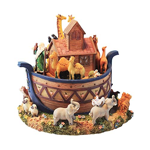 Musikbox Animal World Music Box, Harz-Spieluhr, kreative Dekoration, Ark Design, drehbar, Jungen und Mädchen Geburtstag/Weihnachtsgeschenke Spieluhren (Animal Ark-box)