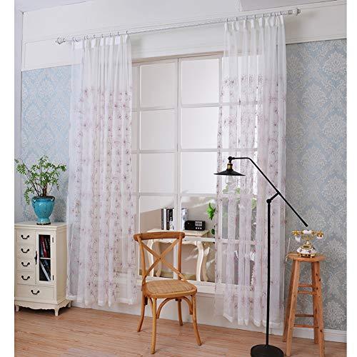 BZ-ZXS VorhäNge Einfache Moderne Bestickte Gaze VorhäNge Nordic Modern Living Bedroom Schlafzimmer Bay Fenster,Purple,2.3 * 2.6m(Hookup) -