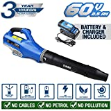 Hyundai Cordless Powered Leaf Blower with 60v Lithium-ion Battery and Charger HYB60LI, Blue