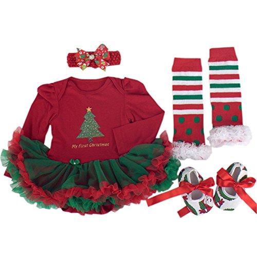 BabyPreg® Niñas bebés Mi primera Navidad traje de Santa del partido del vestido 4PCS (L/9-12 mes, Árbol de Navidad Manga larga)