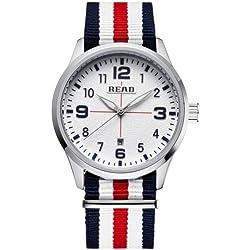 Read 5258Fashionable 3ATM Waterproof Quartz Wrist Uhr mit Stripes Nylon Band & Luminous Display & Calendar Function für Herren (White Window Blue Red Strap)