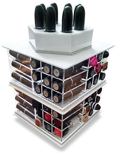 Oi Labels - Organiser per rossetti rotante, può contenere fino a 81 rossetti, colore: Bianco