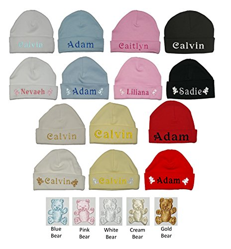 e2dbfc75e03 100% Super Soft Double Layered Cotton Personalised Embroidered Baby Hat –  Available in sizes 0-3