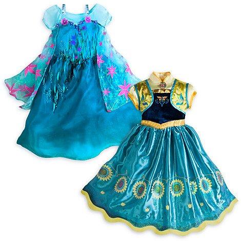 Disney's Authentic - Frozen Fever - Elsa Anna Fancy Costume Dresses For Kids, Set of 2 --- Size 4 ()