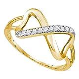 Sonia Jewels Anillo de Oro Amarillo sólido de 10 Quilates con Canal de Diamante Blanco Redondo (1/10 Quilates)
