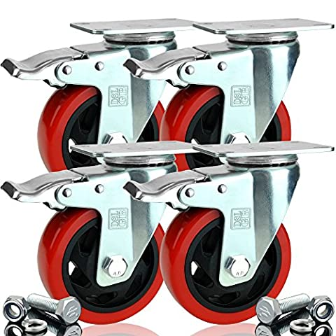 4 x Heavy Duty Double Bearing BRAKED 100mm Rubber Swivel Castor Wheel Trolley Caster 700KG Free