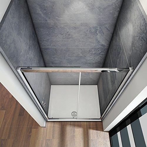 100 x 185 cm Nischentür Duschtür Schiebetür Duschabtrennung Duschwand aus 5mm ESG Sicherheitsglas Klarglas ohne Duschtasse - 4