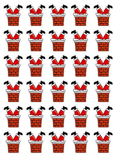 30 adornos comestibles para cupcakes, diseño de Papá Noel con patas de chimenea
