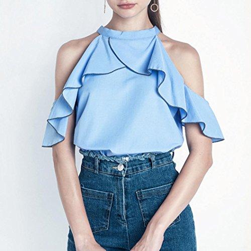 OverDose Damen Tops Art und Weisefrauen weg von den Schulter Oberseiten beiläufig Gekräuselt Blusen Sommer T-Shirt Blau