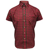 Relco Men's Red 100% Cotton Tartan Short Sleeve Classic Mod Shirt`s